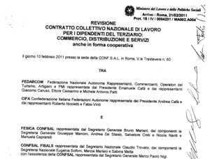 Ccnl commercio distribuzione e servizi rinnovo 2011 for Ccnl terziario distribuzione e servizi